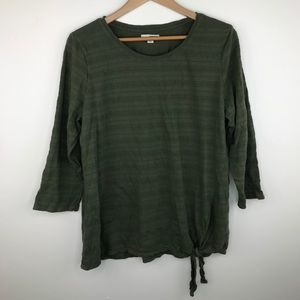 Sonoma green striped top with tie at bottom